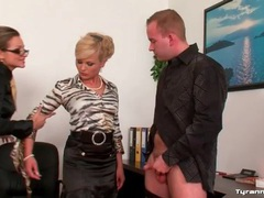 Masturbating guy made to worship ass at work movies at lingerie-mania.com