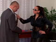 Dominated by office girl in sexy leather pants videos