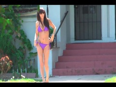 Walking down an la street in her purple bikini videos