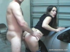 He bends his lady over a car and fucks her videos