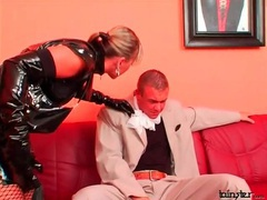 Full latex outfit on sexy mistress dominating him videos