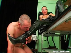 Dominant leather mistress gives him a strapon fuck videos