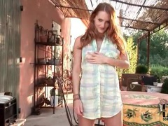 Cute redhead in a sexy solo tease outdoors movies at kilotop.com