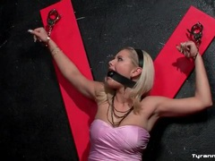 Slutty pink skirt on cute blonde in dungeon movies at kilogirls.com