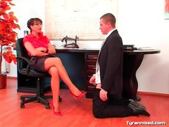 Office girl in satin enjoys dominating coworker videos
