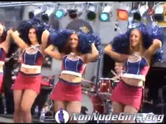 Cheerleaders in short skirts on stage at show videos