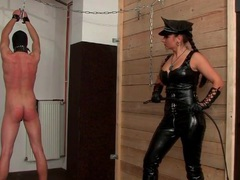 Leather mistress whips him hard over the back videos