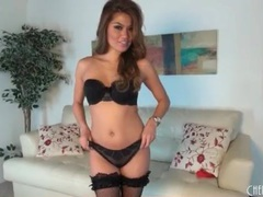 Sexy brunette sizzles in black fishnets videos