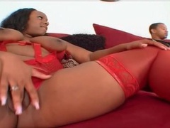 He goes down on fat masturbating black chick tubes