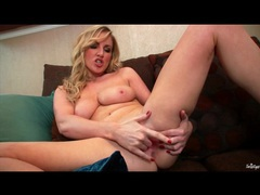 Curvy blonde finger fucks and moans solo movies at sgirls.net