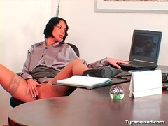 Office babe licks up and down the legs of satin girl videos