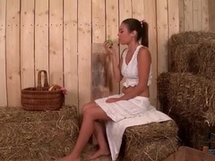 Babe in the barn sucks dick at gloryhole movies