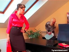 Femdom satin sex in the office with two babes movies at sgirls.net