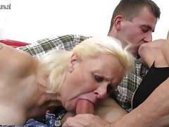 Two grandmas enjoy a big cock in threesome movies at freekiloporn.com