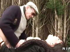 French brunette sodomized in threesome with papy voyeur movies at kilomatures.com