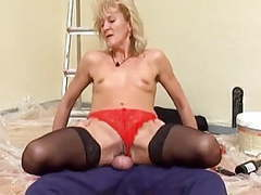 Skinny blonde mature in stockings fucks the decorator videos