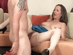 Skinny milf cougar in stockings take a great facial movies at dailyadult.info