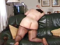 Chubby grandma in pantyhose tubes
