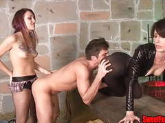 Two hotties fuck a guy and feed him cum strapon femdom movies at kilotop.com