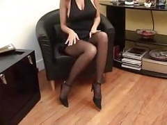 Busty milf puts on pantyhose movies at kilovideos.com