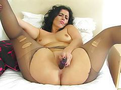 Spanish milf montse swinger fucks nyloned cunt with dildo movies