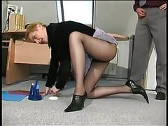 Blonde milf drilled in her black pantyhose tubes