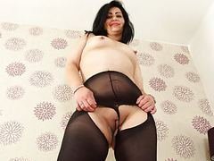 English milf candylips looks hot in black tights movies at relaxxx.net