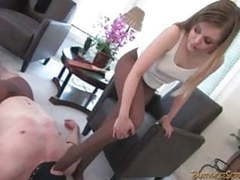 Young blonde in pantyhose dominates muscleman movies at freekiloporn.com