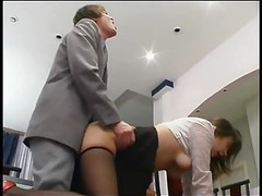 Boss fucks secretary in pantyhose movies at freekilosex.com