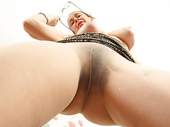 English milf josie covers her hairy cunny with tights only movies at freekiloporn.com