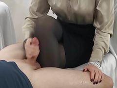 Handjob cum on pantyhose leg movies at adspics.com