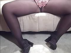 Wide hips big butt and hairy pussy in pantyhose and heels tubes
