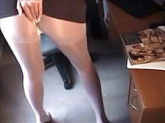 Naughty big-tit blonde fingering in white pantyhose videos