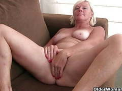 Pantyhosed grandma presses her pleasure buttons tubes