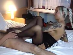 Great blonde pantyhose footjob movies at freekilosex.com