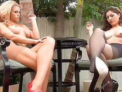 Randy moore and freind smoking in pantyhose videos