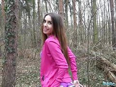 Public agent sexy jogger fucked in the woods clip