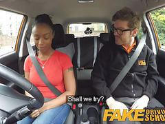 Fake driving school ebony learner with big tits videos