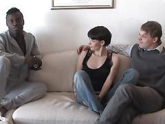Pia sofie's first black cock while her cuckold is watching movies