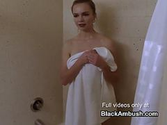 Young blonde ambushed by big black cock in the shower movies at freekilosex.com