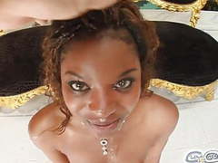 Black teen gets four bukkake cumshots on face movies at sgirls.net