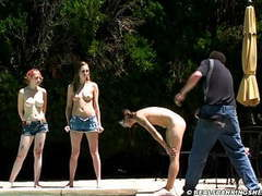 Three girl nude outdoor belt spanking clip