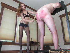 Leggy blonde beats big slave, cums on his face then milks videos