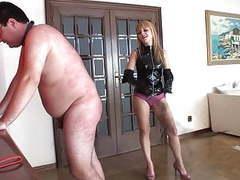 Blonde mistress whips her slave videos