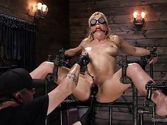 Milf kitten cherie deville restrained and sybianed in metal movies at freekilosex.com