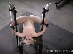 Thin blonde submissive in device bondage videos