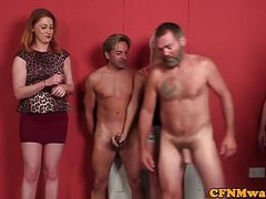 British femdoms tugging guys in cfnm group movies at find-best-videos.com