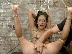 Slim brunette tied 2 videos