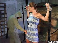 Dominated babe orgasms while bound tubes