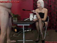 Blonde brutal femdom punishes male slave videos